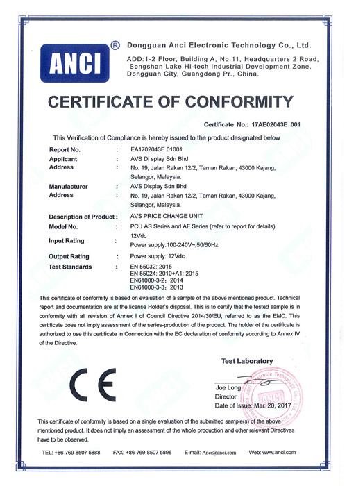 Certificate of Conformity for Price Change Unit | AVS System Sdn Bhd